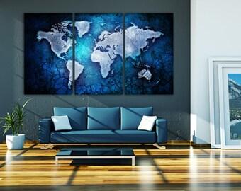 3 panel split art world map canvas print 15 deep 3 panel split blue texture art world map canvas print 15 deep frames triptych wall art for homeoffice wall decor interior design gumiabroncs Image collections