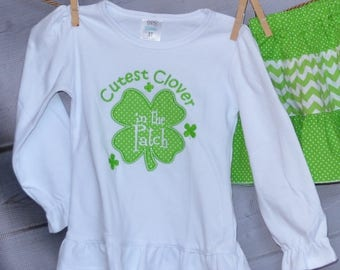 St Patrick's Day Cutest Clover in the Patch Applique Shirt or Bodysuit Boy or Girl