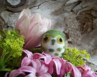 Needle Felted Green Spotted Saw Whet Caffeinated Owl