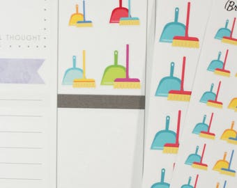 Broom/Sweep/Clean/Chore Icon Planner Stickers (NF531) High Gloss, Semi-Gloss, Matte Planner Stickers