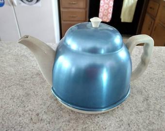 Théière vintage en Faience Bleu anodisé aluminium confortable