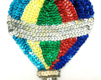 "Hot Air Balloon with Multi-Color Sequins and Beads, 4.5"" x 3""  -B056"