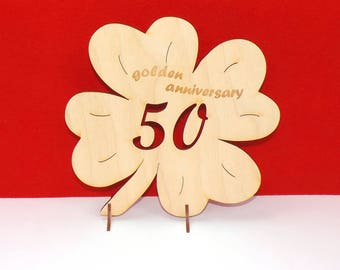 Cloverleaf for golden anniversary, 50 Years, Wedding Present 20cm, 7,87 inch