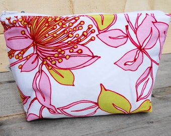 Toiletry Bag, Zipper Pouch - Pink Floral