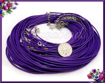 10 Purple Necklace Cords - Finished Cord Necklaces