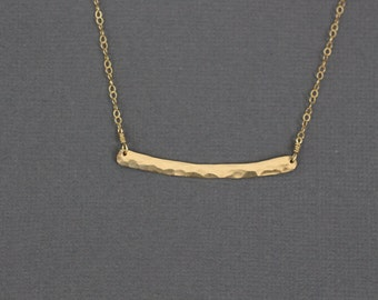 bar necklace, gold bar necklace, simple bar necklace,dainty bar, delicate bar, simple necklace,  hammered bar necklace, dainty necklace, N48