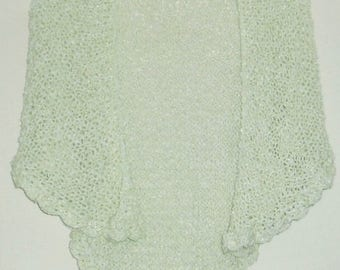 LARGE pastel green shawl knitted by hand