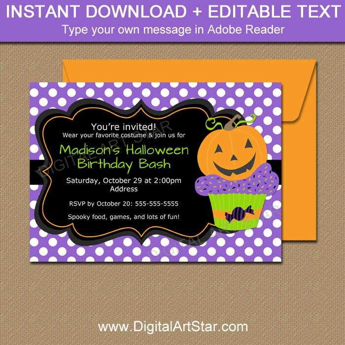 Pumpkin BIRTHDAY Invitation Halloween Birthday Invitation