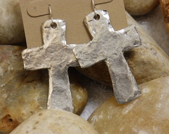 Silver hammered cross earrings
