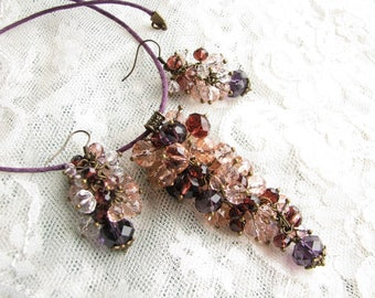 Purple jewelry set Purple necklace Purple earrings Crystal jewelry set Purple Pink jewelry Festival jewelry Sparkly jewelry Dangle earrings