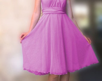 Tailored to Size & Length Infinity Dress two layers with chiffon in orchid color  WITH TUBE TOP  Convertible/Infinity Dress