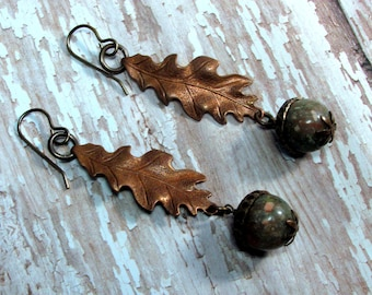 Acorn Earrings, Copper Leaf Earrings, Copper Earrings, Autumn Jasper Earrings, Fall Earrings, Autumn Earrings, Vintaj Earrings, Leaf Jewelry