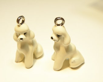 One (1) Silvertone and Handpainted Enamel Poodle Dog Charm --- LOT UU