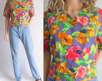 Top floral recadrée veste, manches courtes, coton, français vintage, chemisier Weill, grand