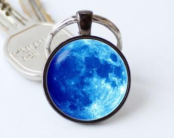 Moon key chain Blue moon keychain Space key chain Galaxy accessory Moon pendant Unique gift Moon jewelry Moon key ring Moon metal accessory