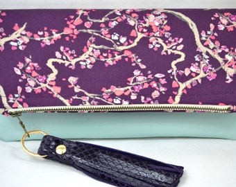 Handmade Leather and Cotton Foldover Clutch with Purple Patent Leather Tassel