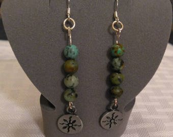 African Turquoise (Jasper) Earrings
