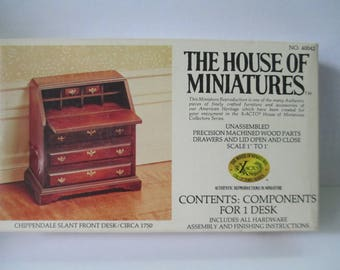 The House of Miniature Furniture Kit Chippendale Slant Front Desk open kit series 40042