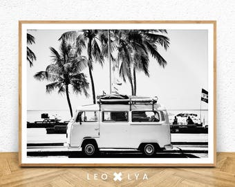 Black and White Beach photo, printable wall art, palm tree art, tropical wall art, tropical printable, van photo, ocean decor, beach decor