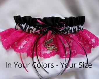 Pink Wedding Garter, Zebra Garter, Hot Pink Garter, Wedding Garter, Satin Garter, Wedding Garter Set, Organza Garter, Bridal Shower Gifts