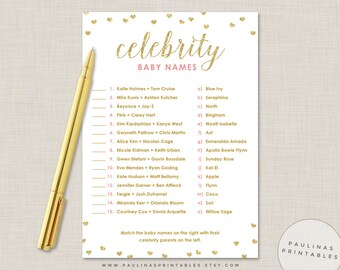 Celebrity Baby Name Game, Pink and Gold Shower Game, Baby Shower Games, Glitter Hearts, Gold Baby Shower, Celebrity Baby Names, Gold Glitter