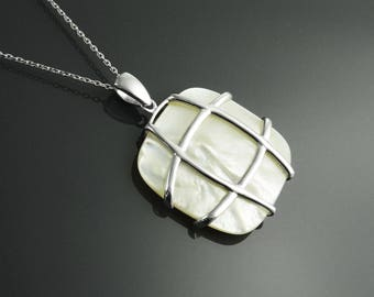 Square Necklace, Sterling Silver, Modern Geometric Square Necklace, GENUINE White Mother of Pearl - MOP - Pendant, Original Design Jewelry