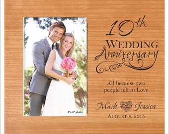 """Personalized Anniversary Picture Frame, """"All because two people fell in love"""" 50th Anniversary Gift, 25th Anniversary Photo Frame, 1st,5th,"""