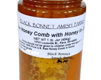 100% Pure Raw Chunk Honey Comb in Jar of Raw Honey 1 lb.