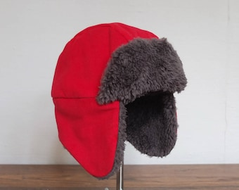 Red corduroy and velvet fur sheep dark grey baby Hat