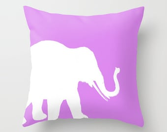 Elephant Throw Pillow Cover Lilac Pillow Cover Elephant Decor Home Decor Decorative Pillow Cover Animal Lover Gift