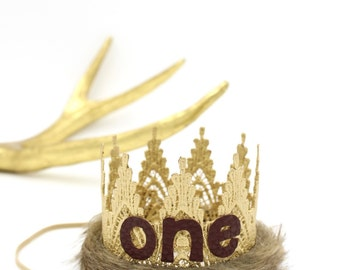 Wild One || First Birthday || Where Wild Things Are inspired || MINI faux fur trimmed || Harlow gold lace crown headband|| Original Design