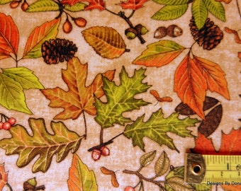 "One Half Yard Cut Quilt Fabric, ""Shades of Autumn"" by Dan Morris 4 RJR Fabrics, Many Different Fall Leaves, Sewing-Quilting-Craft Supplies"
