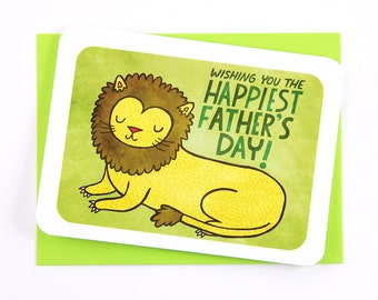 Regal Lion - Father's Day Card for Dad Fathers day gift Funny fathers day card Dad appreciation card Sweet Fathers day card Grandpa card