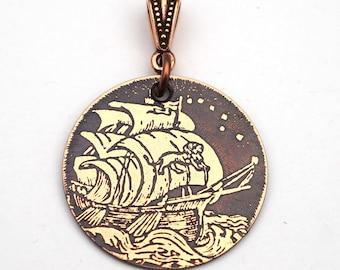 Copper sailing ship pendant, round flat antiqued metal jewelry, lion sail, 28mm