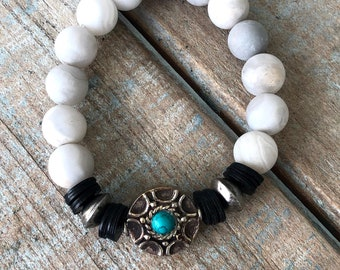 Handmade Boho Chic White Matte Jasper Beaded Bradelet with Silver and Turquoise Tibetan Disc and African Accents