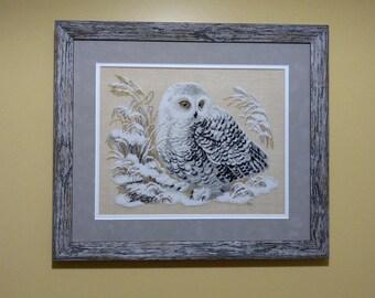 Cross-stitch Owl Needlework Finished