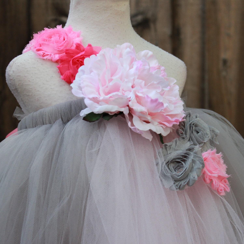 Grey Flower Girl Dress Pink Grey Birthday Party Dress Grey