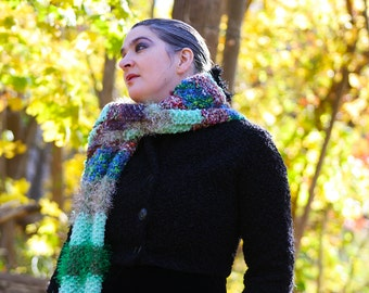 "Luxury Hand-Knit Doctor Who Scarf ""Two Doctors"" Scarf in Green, Brown, Blue, Beige, Long, Striped, Multi-Textured, Fuzzy, Soft, Warm! OOAK"