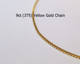9ct 9K 375 Yellow Gold Box LInk Type Chain Necklace for Pendant Jewellery