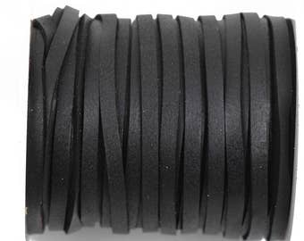 "1/8"" Deerskin Leather Lace, BLACK, Deer Skin real leather by the yard, Realeather made in USA, 3mm wide, 50 feet, Lth0038"