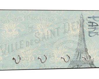 """Vintage Style Parisian Themed Eiffel Tower Paris, France French Design - 5"""" by 11"""" Key Hanger Household Decoration with Four Hooks"""