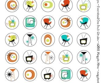 Mid Century One Inch Circles Retro Collage Sheet - 1950s 1960s - Digital Download - Instant Download