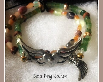 Custom Double Strand Stretch Bracelet Heart and Wings