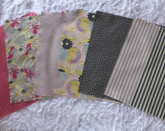 Batch 6 fabric patchwork squares 25.4 X 25.4 cm GARDENVALE by Moda
