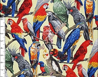 "Fabri-Quilt ""Living Wonders"" Gorgeous Parrots 112-24921  Fabric Priced Per 1/2 Yd."