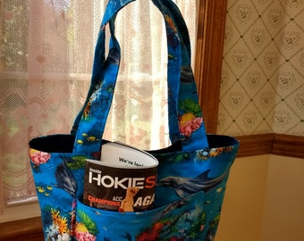 Dolphin and Coral Tote Bag