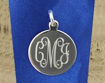 Engraved Monogram Pendant Round Sterling Silver 18mm 07694
