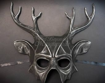 Deer Halloween Haunted House Props Animal Masquerade Mask Silver