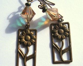 Vintage Brass Daisy Charm Crystal Bead Pierced Earrings