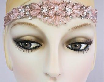 Blush Beauty Flapper Beaded Headband, Roaring 20s